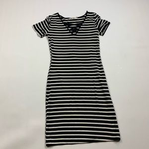 Heart & Hips Black and White Stripped Dress